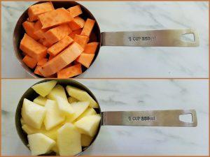 Süßkartoffel und Apfel